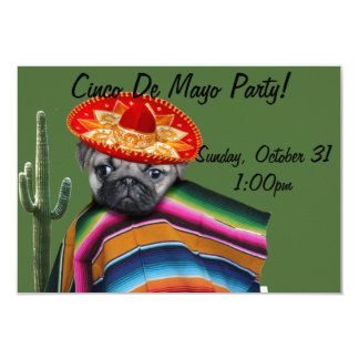 Cinco de Mayo Pug dog party invitation