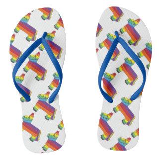 Cinco de Mayo Rainbow Donkey Piñata Fiesta Pride Flip Flops