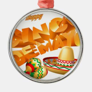 Cinco De Mayo Sign Silver-Colored Round Ornament