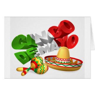 Cinco De Mayo Sign With Sombrero and Maracas Card