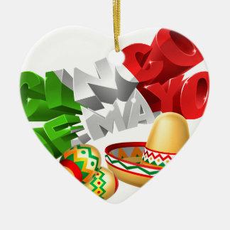 Cinco De Mayo Sign With Sombrero and Maracas Ceramic Ornament