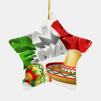 Cinco De Mayo Sign With Sombrero and Maracas Ceramic Star Ornament