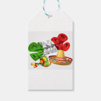 Cinco De Mayo Sign With Sombrero and Maracas Gift Tags