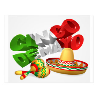Cinco De Mayo Sign With Sombrero and Maracas Postcard