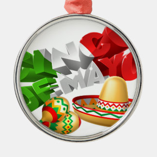 Cinco De Mayo Sign With Sombrero and Maracas Silver-Colored Round Ornament