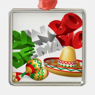 Cinco De Mayo Sign With Sombrero and Maracas Silver-Colored Square Ornament