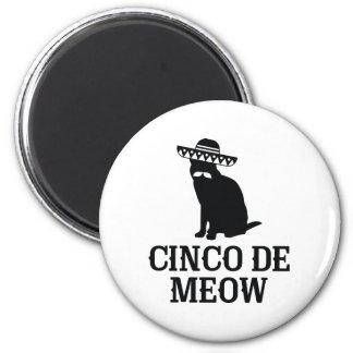 Cinco De Meow 2 Inch Round Magnet