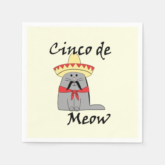 Cinco de Meow Cinco de Mayo Party Paper Napkins