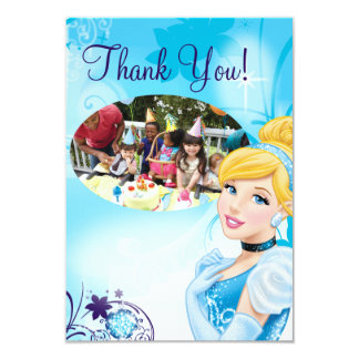 "Cinderella 3 Birthday Thank You Cards 3.5"" X 5"" Invitation Card"