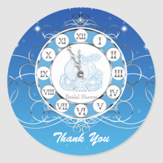 Cinderella Almost Midnight Blue Silver Party Favor Classic Round Sticker