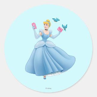 Cinderella and Birds Classic Round Sticker