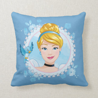Cinderella And Blue Bird Throw Pillow