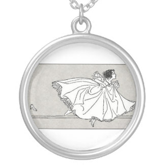 Cinderella and Her Shoe Silver Plated Necklace