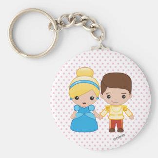Cinderella and Prince Charming Emoji Basic Round Button Keychain