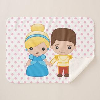 Cinderella and Prince Charming Emoji Sherpa Blanket