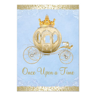 "Cinderella Blue Once Upon a Time Princess Birthday 5"" X 7"" Invitation Card"