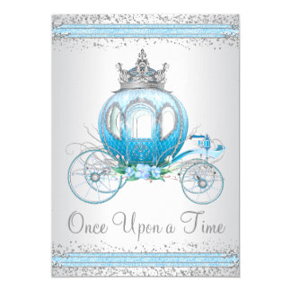 "Cinderella Blue Princess Birthday Party 5"" X 7"" Invitation Card"