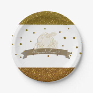 Cinderella Carriage Gold Glitter Dots Party Plates 7 Inch Paper Plate