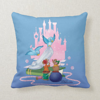 Cinderella | Glass Slipper And Mice Throw Pillow
