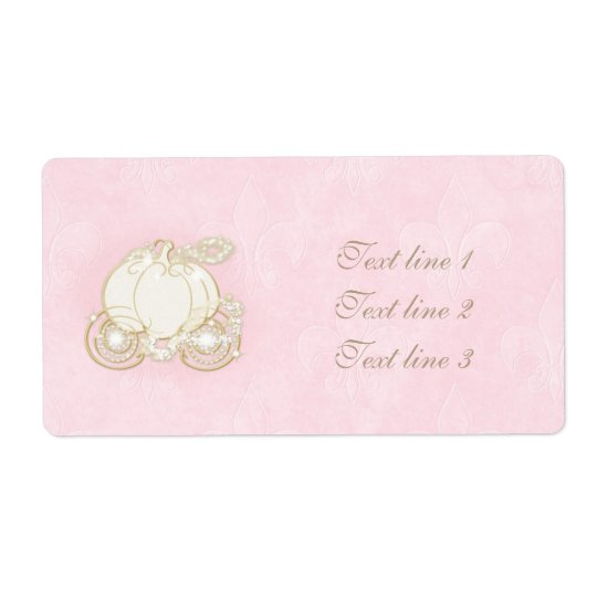 Cinderella Gold Carriage Light Pink Princess Label