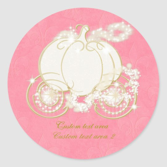 Cinderella Pink & Gold Carriage Elegant Sticker