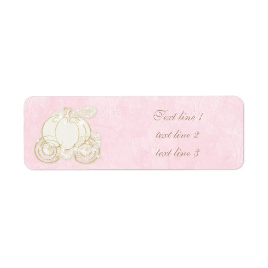Cinderella Pink Gold Carriage Royal Address Labels
