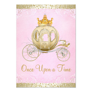 "Cinderella Pink Once Upon a Time Princess Birthday 5"" X 7"" Invitation Card"