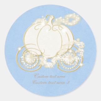Cinderella Princess Blue Gold Carriage Sticker