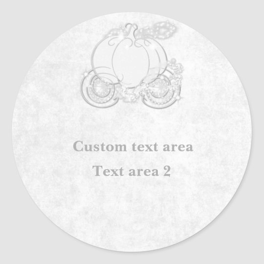 Cinderella Princess Carriage White Silver Sticker
