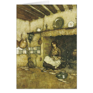 Cinderella Sitting Among the Ashes Fine Art Card