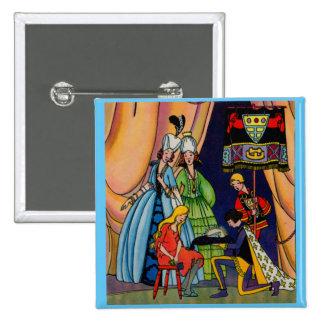 Cinderella, the prince and the glass slipper 2 inch square button