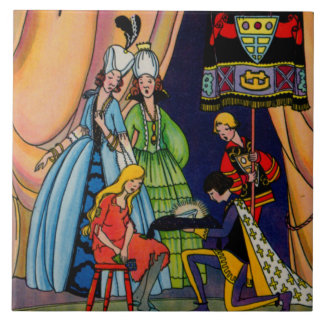 Cinderella, the prince and the glass slipper ceramic tile