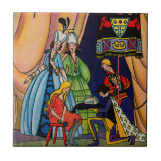 Cinderella, the prince and the glass slipper tiles