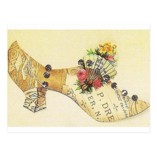Cinderella Vintage Victorian Fan Slipper Postcard