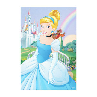Cinderella With Gus & Jaq Canvas Print