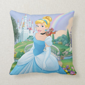 Cinderella With Gus & Jaq Throw Pillow