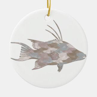 Cindy's Camo Hogfish Round Ceramic Ornament