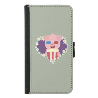 Cinema Pig with flower heart Samsung Galaxy S5 Wallet Case