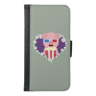Cinema Pig with flower heart Samsung Galaxy S6 Wallet Case
