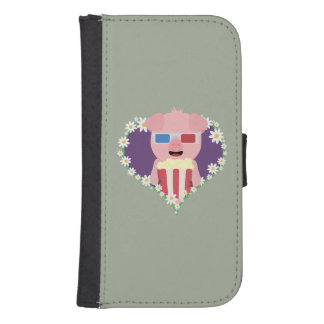 Cinema Pig with flower heart Samsung S4 Wallet Case