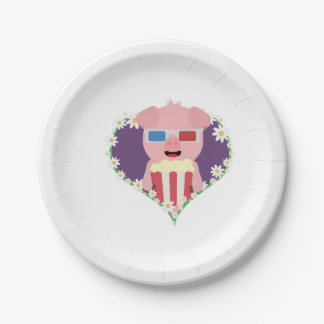 Cinema Pig with flower heart Zvf1w 7 Inch Paper Plate