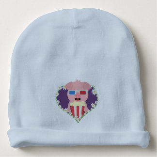 Cinema Pig with flower heart Zvf1w Baby Beanie