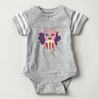 Cinema Pig with flower heart Zvf1w Baby Bodysuit