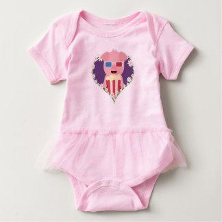 Cinema Pig with flower heart Zvf1w Baby Bodysuit