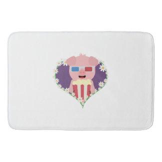 Cinema Pig with flower heart Zvf1w Bathroom Mat