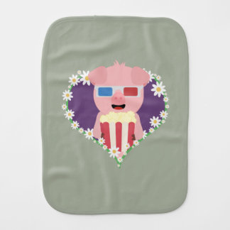 Cinema Pig with flower heart Zvf1w Burp Cloth