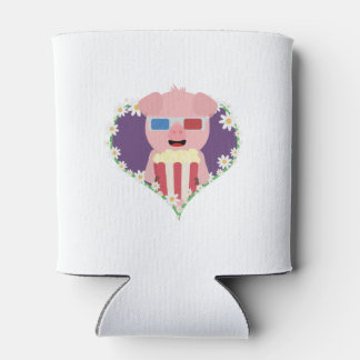 Cinema Pig with flower heart Zvf1w Can Cooler