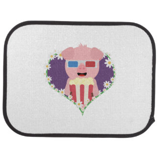 Cinema Pig with flower heart Zvf1w Car Mat