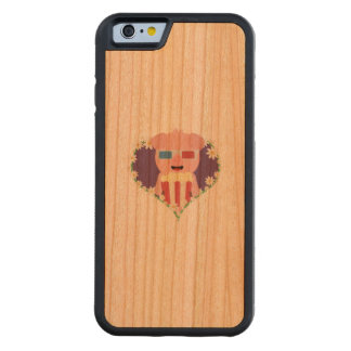 Cinema Pig with flower heart Zvf1w Carved Cherry iPhone 6 Bumper Case