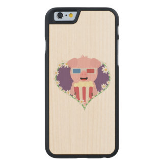 Cinema Pig with flower heart Zvf1w Carved Maple iPhone 6 Case